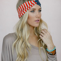 American Flag Headband, USA Hair Band, Red White and Blue July 4th Fashion Accessory, American Flag Turband in Classic (HB-3690)