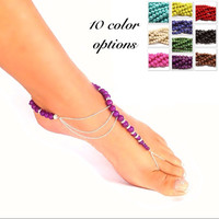 Barefoot sandals - 10 color options - assymetrical - beach wedding - foot jewelry - toe ring - ankle bracelet - cruise wear - boho style