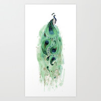 Peacock Art Print by Tracey Cameron