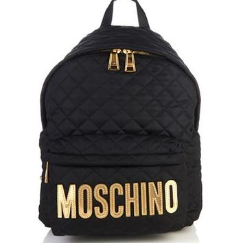 Logo-appliqué quilted backpack