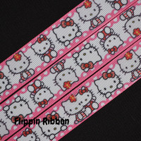 Hello Kitty Inspired Ribbon with Pink Boarder, 4 Yards, 7/8 inch Grosgrain