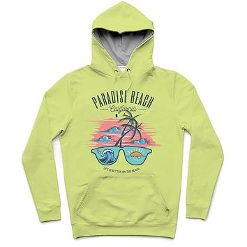 Paradise Beach California Trendy All-Over Print Solid Primrose Hoodie