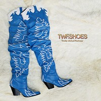 Kelsey 21 Rock Star Blue & White Western Slouch OTK Thigh High Cowboy Boot 6-11