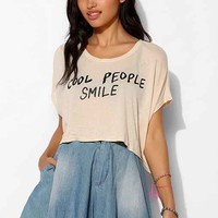 Native Rose Cool People Smile Speckled Cropped Tee- Ivory