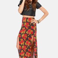Obey Love Scene Floral Print Maxi Skirt