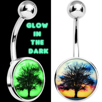 Glow in the Dark Sunset Tree Belly Ring | Body Candy Body Jewelry