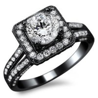 1.50ct Natural SI-1 F Round Diamond Engagement Ring 14k Black Gold with a .55ct Center Diamond and .95ct of Surrounding Diamonds