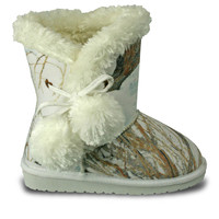 Girls' Mossy Oak Side Tie Boots - Winter Brush