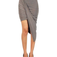 Gray Twisted Asymmetric Mini Skirt