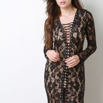 Floral Glitter Mesh Lace Up Dress