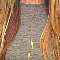 Leaf of a Long Chain Pendant Necklace Gold Feather