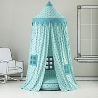 Kids Canopy: Teal Polka Dot Play Circus Tent in Imaginary Play | The Land of Nod