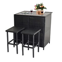 MCombo 3PCS Black Wicker Bar Set Patio Outdoor Table with 2 Stools Furniture Steel 6085-1201