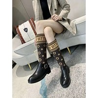 lv louis vuitton trending womens men leather side zip lace up ankle boots shoes high boots 214