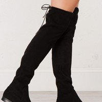 Over The Knee Flat Boot in Black