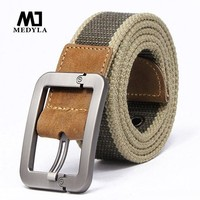 HOT Real Solid brand Belt for Men Cinto men's Fashion Pin Buckle Canvas cowboy knitted Strap Casual  Striped belt
