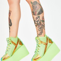 Green Monster Qozmo Platform Sneakers