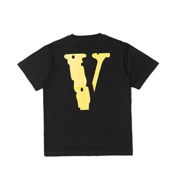 High Street Tide Brand VLONE LIFE Yellow Big V Commemorative Limited Cotton Bottoming Shirt Male and Female Loose Couple Short Sleeve T-Shirt