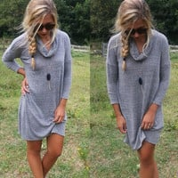 Gray Long Sleeve High Neck Dress