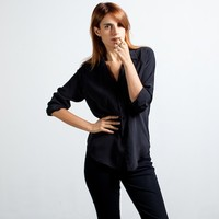 Silk Blouse - Point Collar (Black)