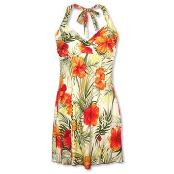 tangerine hawaiian napali halter dress
