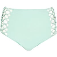 River Island Womens Aqua high waisted bikini bottoms