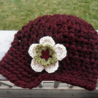 Crochet Newsboy Cap with Removable Flower  by SoLaynaInspirations