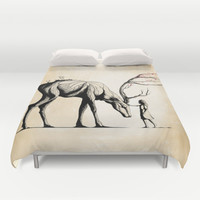 Knowing the Deer Tree Duvet Cover by Rafapasta