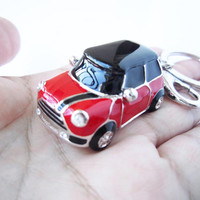red body mini car , Single stripes, Personality keychain, especially,drop of oil plus grade crystal, white gold car,luxury,Christmas Gifts