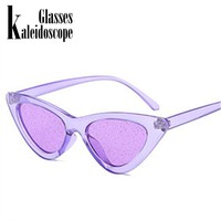 Kaleidoscope Glasses Small Cateye  Sunglasses Women Vintage Sexy Cat Eye Frame Tint Red Shiny Lens Sun Glasses for Female UV400
