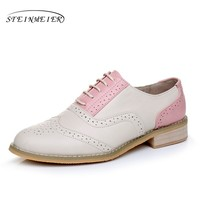Genuine leather big woman US size 11 designer vintage flat shoes round toe handmade pink beige oxford shoes for women with fur