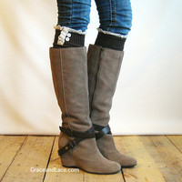 The Milly Lace - Brown Cable-knit Boot Socks with ivory knit lace trim & buttons - lace socks  (item no.5-3)