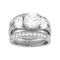Cubic Zirconia 3-Stone Engagement Ring Set in Sterling Silver (White)