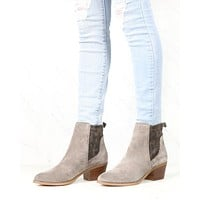 Very Volatile - Women's Raya Suede Leather Ankle Bootie - Taupe Suede