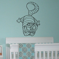 Alice In Wonderland Wall Decal Vinyl Sticker- Cheshire Cat Decal Wall Art Home Decor- Wall Decals For Nursery- Wall Decal Kids Bedroom Q046