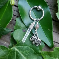 Lucky Little Pachyderm - Elephant Charm, Fancy Jasper, and Natural Clear Quartz Crystal Point on 14 Gauge Surgical Steel Captive Belly Ring