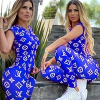 Fashion New  LV Monogram Print Top And Pants Two Piece Suit Blue