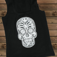 Women's Tank,Skull on a U Ladies Tank,Screen Printing Tank,Women's Tank,Black Tank,Size S, M, L