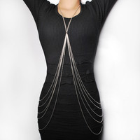 Silver and Golden Body Chain Necklace Layering Jewelry