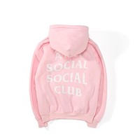 ANTI SOCIAL SOCIAL CLUB Tide brand men's and women's hooded plus velvet sweater Pink