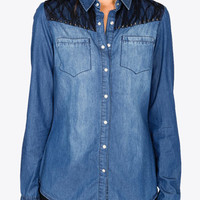 Spiked Lace Chambray Shirt | FOREVER 21 - 2037103161