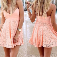 Pink Strapless Floral Lace Dress