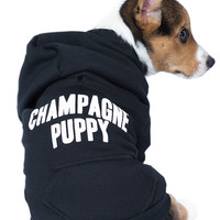 Petals and Peacocks Champagne Puppy Dog Hoodie Black