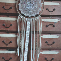 Dream catcher with ivory lace & vintage table mat.