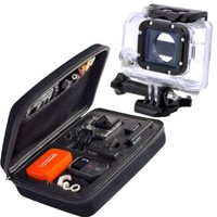 Lake(TM) Black EVA Carrying Travel Protective Case Bag Cover with Replacement Waterproof Housing Case For Gopro HD Hero3 Hero3+ Hero4 Outside Sports Camera Camcorder and Accessories Parts