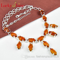 925 sterling silver plated women purple and orange Citrine necklace Jewelry N0493--N496