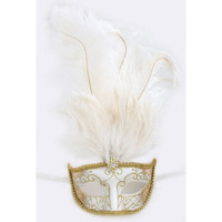 White High Feathered Party Face Mask