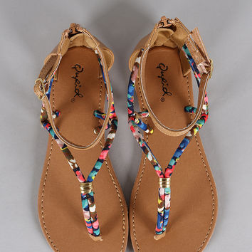 Qupid Buckle Multicolor Strappy Gladiator Flat Sandal