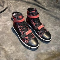 Prada Men's Leather Fashion High Top Sneakers Shoes