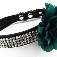 Adjustable Pet Dog Cat Leather Buckle Collar 4 Rows Bling Diamond Rhinestone With Big Flower Style S,Green Flower